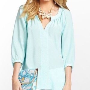 Lilly Pulitzer Teal and White Moxy Blouse